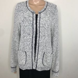 Ann Taylor Loft cardigan gray and black sz L NWT